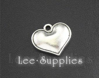 10pcs Antique Silver Puff Love Heart Charms Pendant A1425