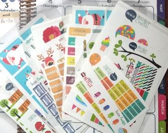 Mystery Mistake Graffiti 100 Planner Sticker Grab Bag for Erin Condren Life Planner, Happy Planner, The 1407 Planner, Filofax, Plum Paper