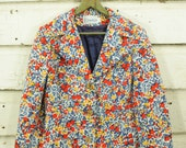 vintage 1960s mod colorful floral print blazer coat jacket XS S 6