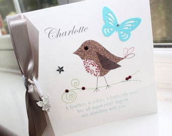 Personalised Handmade Angel Quote Greeting Card Robin Butterfly by Charlotte Elisabeth AL001