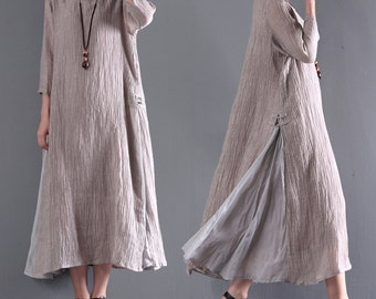 Women loose tunic dress linen maxi dress plus size clothing summer cotton dress large size dress linen tunic women linen clothing custom