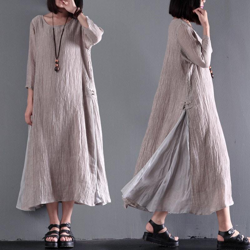 tunique ample femmes robe maxi robe en lin grande taille. Black Bedroom Furniture Sets. Home Design Ideas