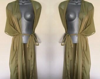 Olive green chiffon Cover Up, Kimono Kaftan, Wrap, Sarong.