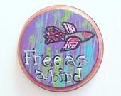 Free as a bird boho wall art, hippie colorful folk art bird wall decoration, gypsy folk art wall decor