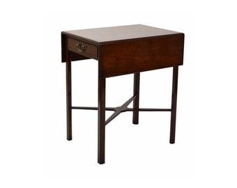 Vintage Mahogany Pembroke Drop Leaf Table With X Form Stretcher