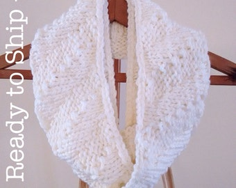 Merino Wool Infinity Scarf in White - the Life's a Breeze Scarf - Hand Knit - Ready to Ship