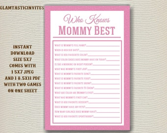 Baby Shower Games, Who Knows Mommy Best, Printable File, Pink Baby Shower,