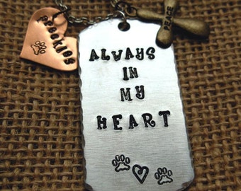Always in My Heart Custom Hand Stamped Tag Necklace |Pet Memorial|Memory Jewelry