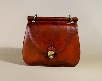 Vintage Brown Leather Bag, Shoulderbag, Saddle Bag, Office Bag, Shoulderpurse