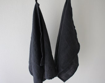 Made to order two ecofriendly  100% linen hand towels with loop, kitchen towels with loop