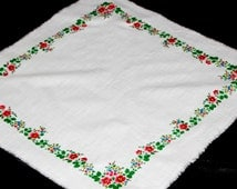 White Floral Scarf Russian Floral Shawl Chale Russe Women Head Scarf Vintage Shawl Winter Scarf Christmas Gift Babushka Russian Gift for her
