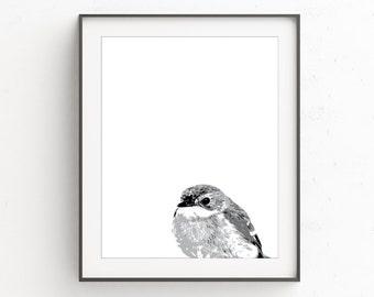 Kids Room Animal Print, Minimalist Black and White Wall Print, Woodland Nursery Wall Print, Bird Nursery Wall Print, Black White Wall Print