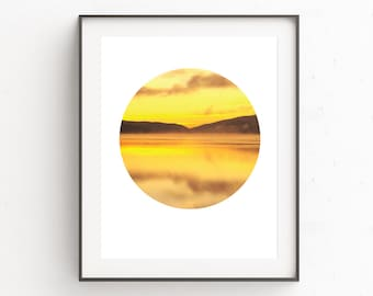 Yellow Wall Art, Nature Photography, Circle Art, Geometric Art, Yellow Print, Lake Prints, Instant Download Printable Art