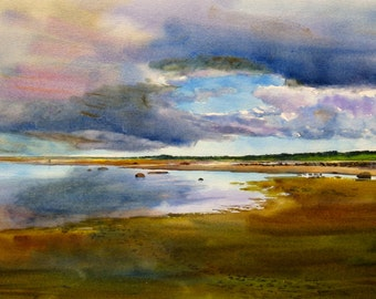 Seascape watercolor print, beach landscape print, Cape Cod Bay, 12 x 18 inch print, Stormy day landscape, blue, gray, tans, purple