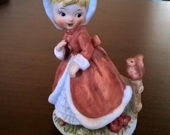 Vintage Girl with Squirrel Figurine **FREE SHIPPING**