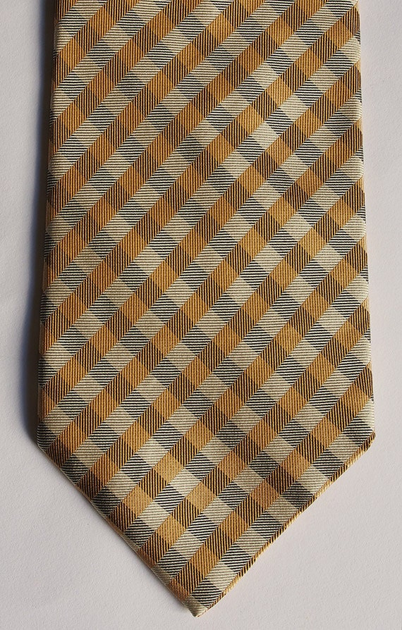 BURBERRY LONDON Classic Check Prorsum Logo 100% Silk Weave Neck-Tie Made in Italy
