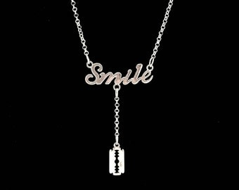 razor blade, SMILE, punk rock necklace, street harassment, punk rock girl, brutal, bloody, horror, apocalypse, protection, revenge, gothic