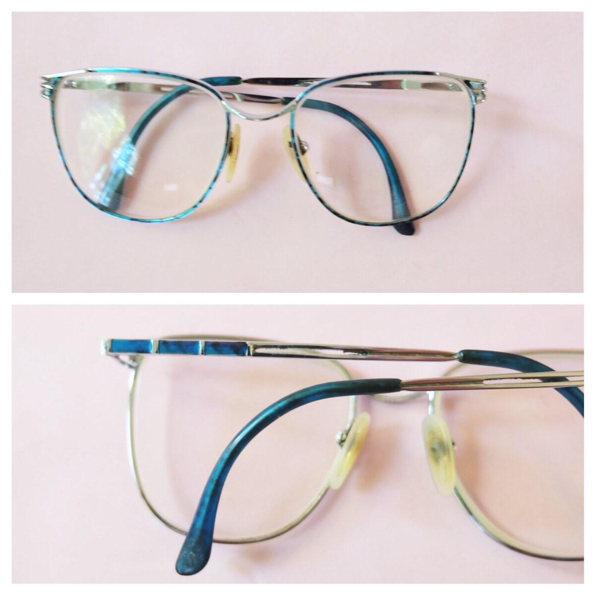 9e154adc7f1c Vintage 1970s Eyewear, Glasses, Big Glasses, Frames, Retro, Silver,  Turquoise