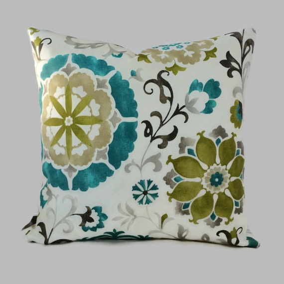 Teal Pillow Blue Olive Sage Green Indoor Outdoor Zippered