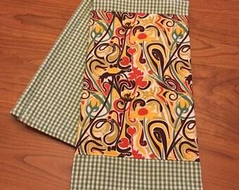 100% Cotton Embellished Tea Towel: Sage and Swirl