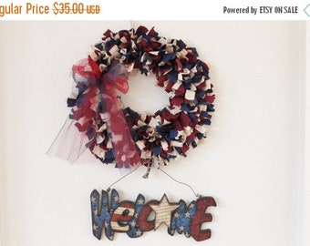 ON SALE Red, White, and Blue Patriotic Rag Wreath with Welcome Sign