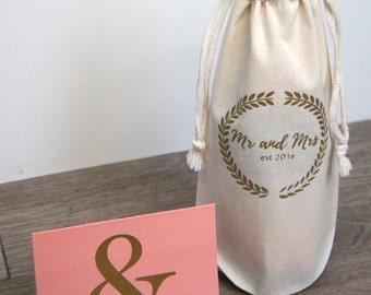 Wine or Sparkling Cider Linen Gift Bag