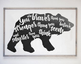 You are Braver, Stronger, Smarter, Winnie the Pooh, A.A. Milne, Children's Storybook,Storybook Sign,Book Series,Wood Sign