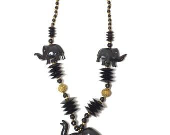 Vintage Handmade Tribal Carved Black Bone Elephant Necklace Earring Statement Set, Elephant Jewelry