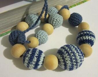 Babywearing nursing necklace blue/Teething Breastfeeding Necklace /Gift for Babywearing Moms