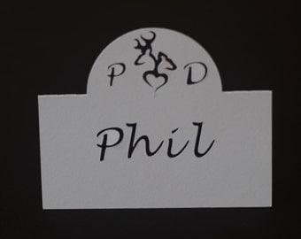 Handmade personalised deer place cards - pack of 20