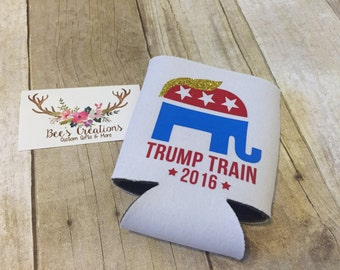 Trump Train Can Coolie - Insulated Beverage Holder - Trump - Republican - Raised Right