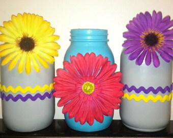 Flower and Zig Zag Mason Jar