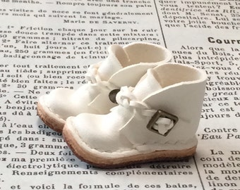 Real leather: miniature ankle boots [WHITE] (for blythe)