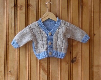 Gray blue baby hand knitted cardigan 6 to 12 months boy kids children wool cardigan hand knit baby clothes