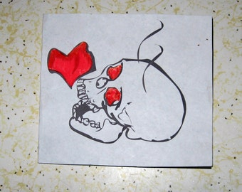 Goth Skull Valentine Card with Heart