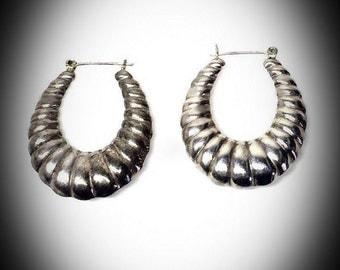 vintage Taxco sterling silver hoop earrings marked LVR 925 oblong 2 inch oval hoops