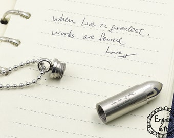 Your Handwriting Bullet Urn Pendant - Memorial Ash Keepsake Jewellery - Personalised Engraved, for him, deployment gift