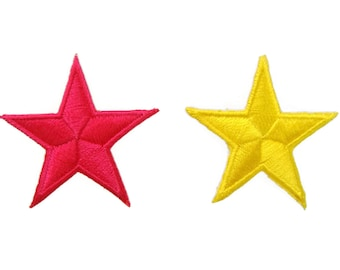 Set of 2 pcs Pink Star and Yellow Star Appliques Embroidered Patch Iron On