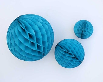 Turquoise tissue honeycombs - 5, 8, or 12 inch.  Blue tissue paper honeycomb balls.  Turquoise blue party decor.  Turquoise tissue balls.
