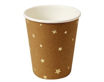 Gold foil star Kraft Paper Cups.  Set of 8.  Twinkle Twinkle Little Star party cups. Gold stars.  Party cups.  Gold  paper cups.  Star cups.