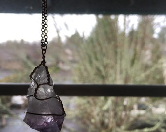 handmade amethyst crystal necklace