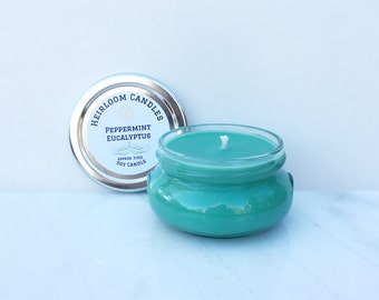 Green Peppermint Eucalyptus Soy Candle - Motivation Aromatherapy - Mint Scented Candle - Essential Oil Candle - Medicinal Soy Candle