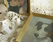 Two magical antique oil paintings, dog portraits, found in France, gold frames...CHARMANT!