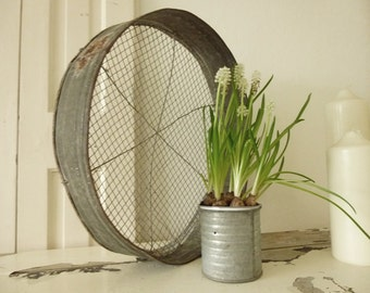 Antique metal sieve, tray...CHARMANT!