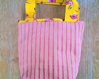 Reversible lunch bag - hipster bag, snack bag with pink flamingo - Multipurpose carry all - Pink and yellow - bestfriends gift