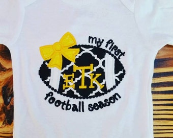 Girl - My First Football Season Applique Shirt or Onesie - Monogram or Name - Any Color