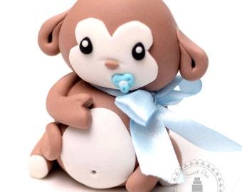 Fondant Baby Monkey Cake Topper - baby shower, birthday, special occasion