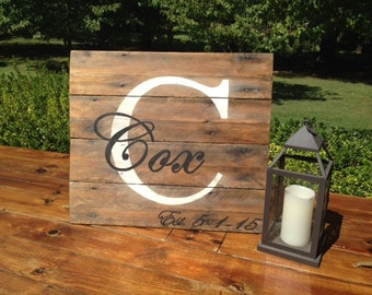Name/initial/wedding date sign