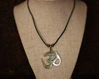 "Rustic Brass ""Om"" necklace"
