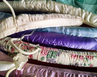 Lot of Six Floral and Silky Padded Hangers